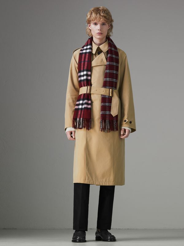 Gosha x Burberry Check Cashmere Double Scarf in Claret | Burberry - cell image 3