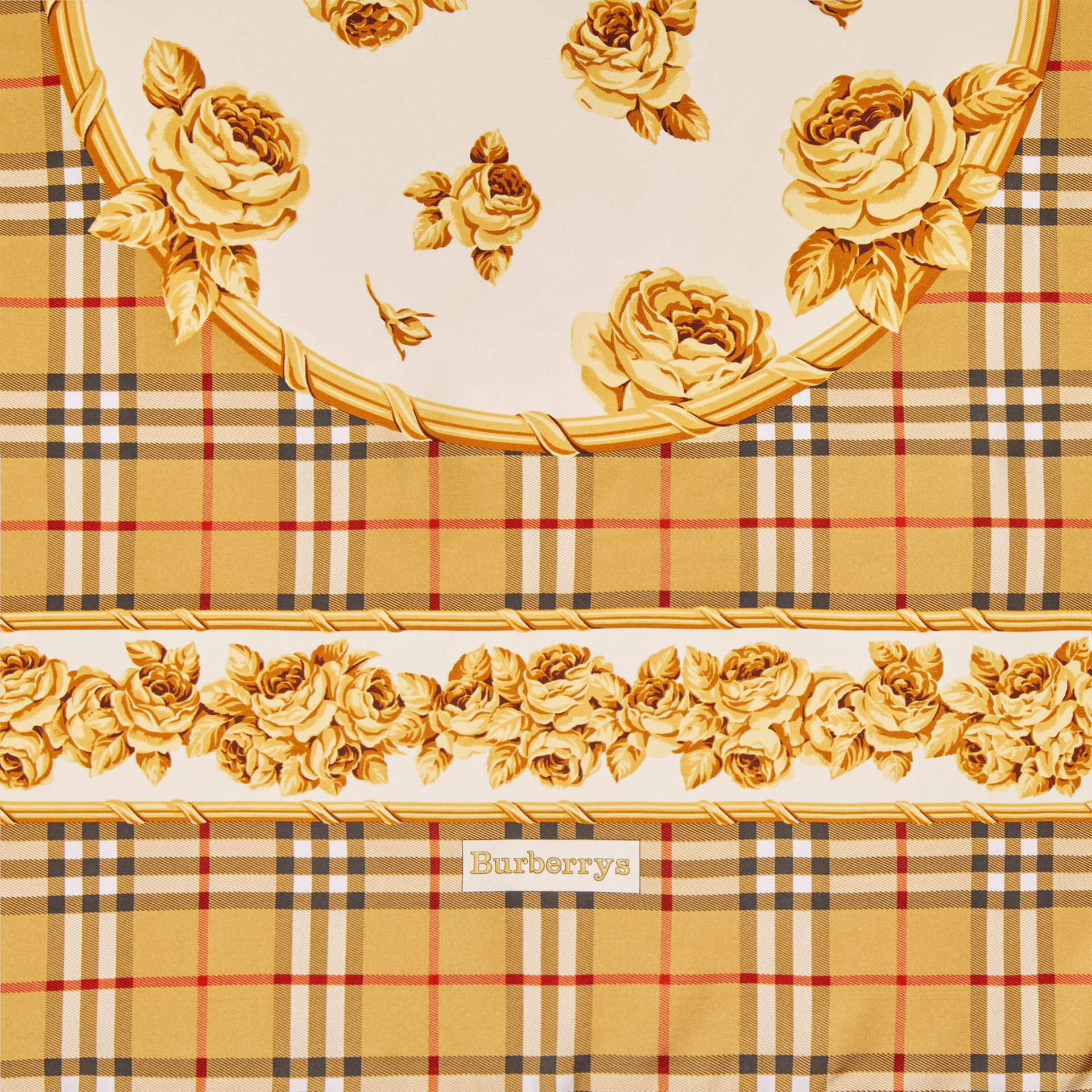 Archive Scarf Print Silk Scarf in Antique Yellow | Burberry - gallery image 1