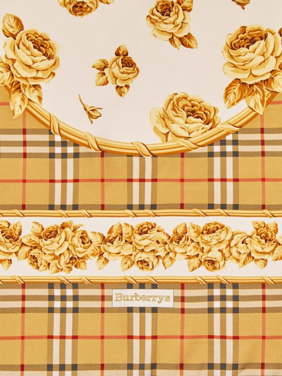 Archive Scarf Print Silk Scarf in Antique Yellow - Women | Burberry Canada - cell image 1