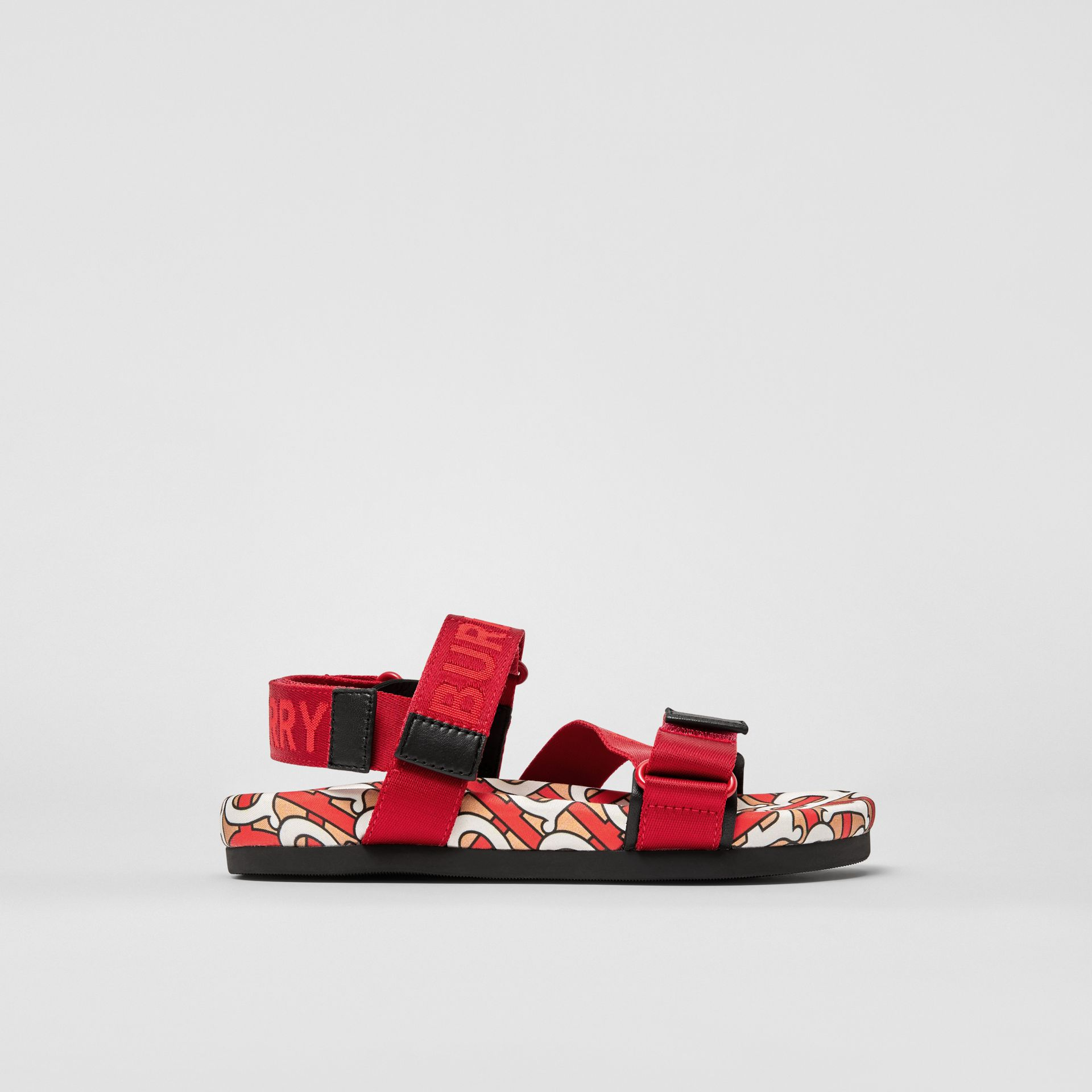 Monogram Print Cotton Gabardine Sandals in Bright Red - Children | Burberry Hong Kong S.A.R - gallery image 3