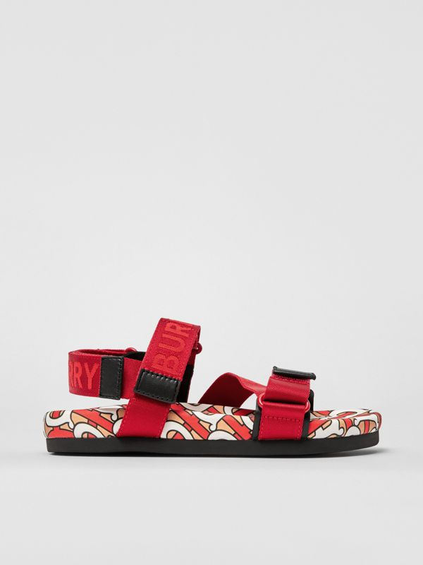 Monogram Print Cotton Gabardine Sandals in Bright Red - Children | Burberry United Kingdom - cell image 3