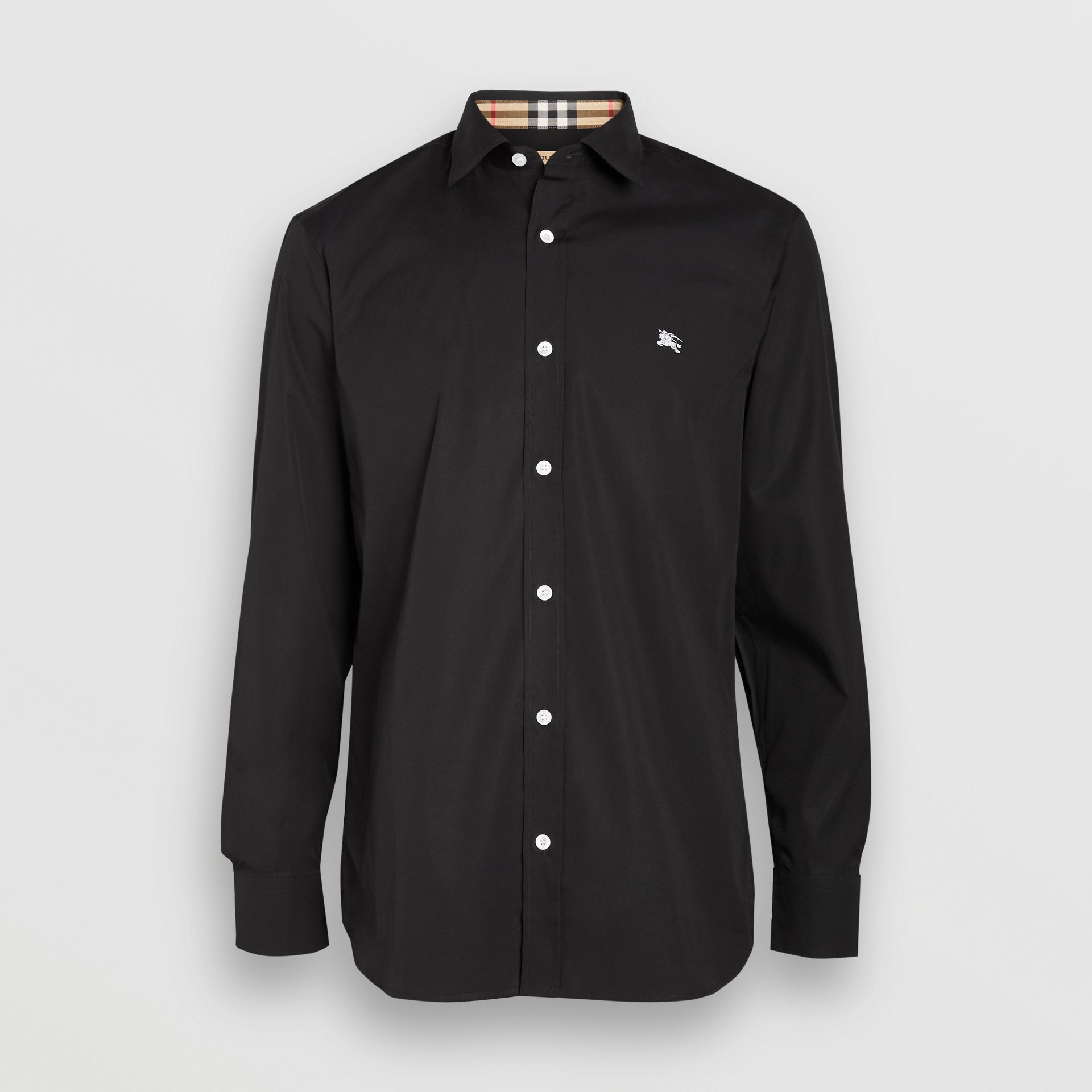 Contrast Button Stretch Cotton Shirt in Black - Men | Burberry United Kingdom - gallery image 3