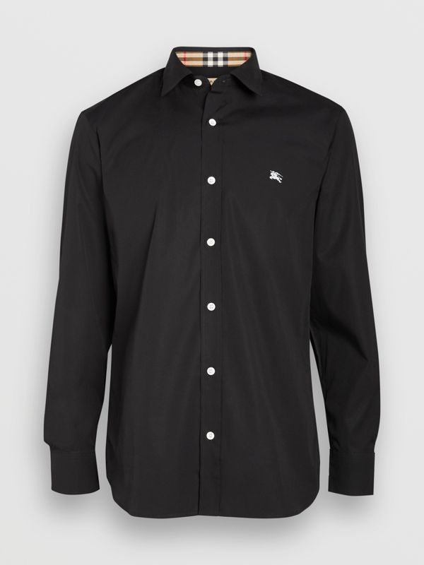 Contrast Button Stretch Cotton Shirt in Black - Men | Burberry United Kingdom - cell image 3
