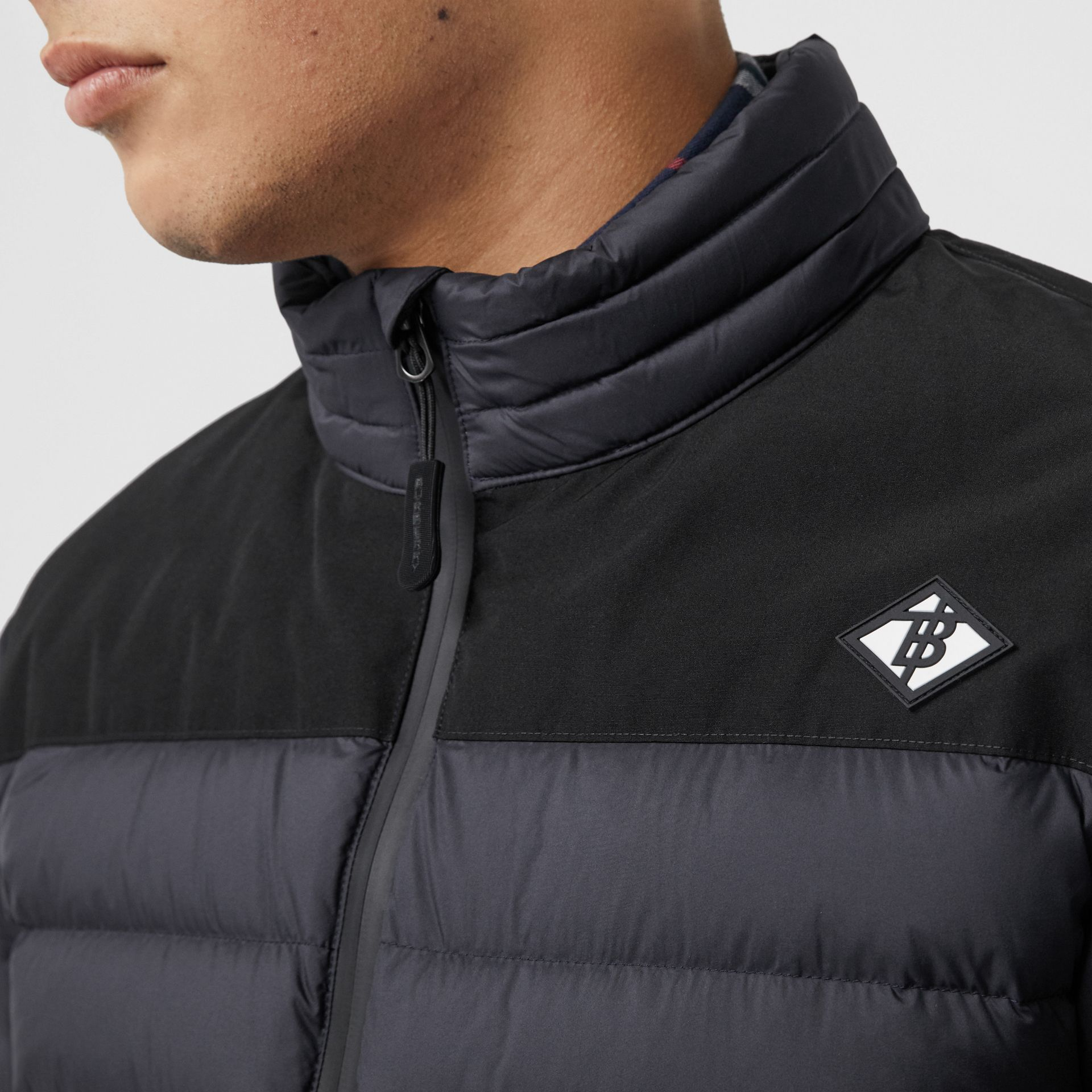 Logo Graphic Lightweight Puffer Jacket in Navy - Men | Burberry - gallery image 1