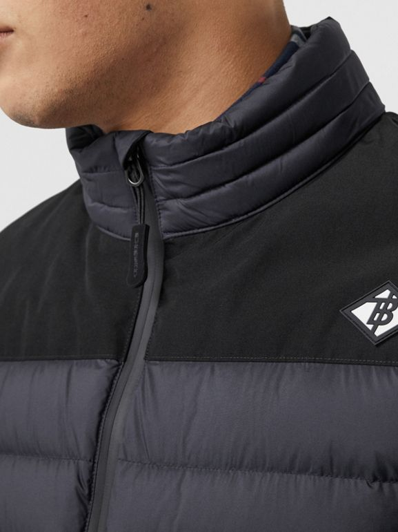 Logo Graphic Lightweight Puffer Jacket in Navy - Men | Burberry Singapore - cell image 1
