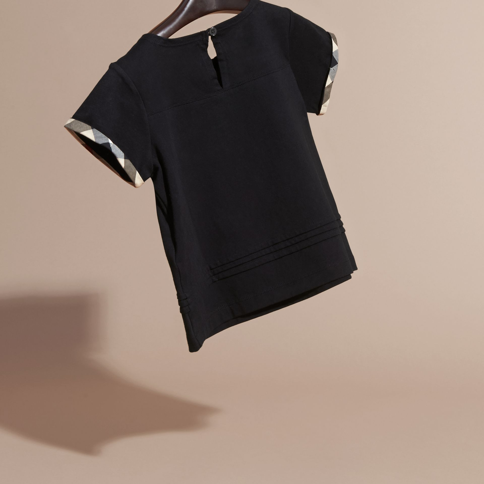 Pleat Detail Check Cotton T-Shirt in Black - gallery image 4