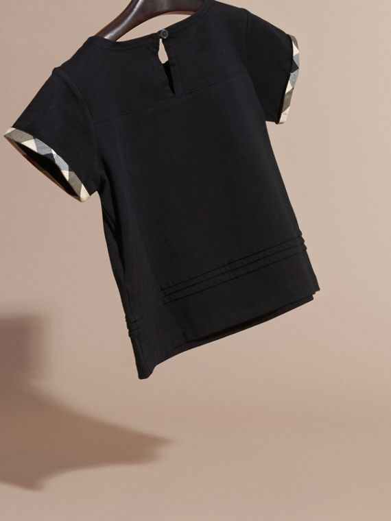 Pleat Detail Check Cotton T-Shirt in Black - cell image 3