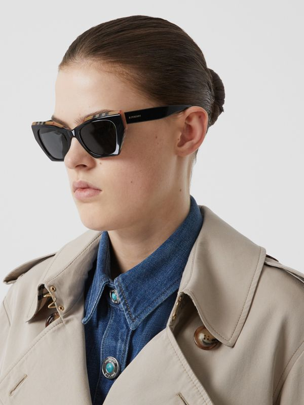 Vintage Check Detail Butterfly Frame Sunglasses in Black/archive Beige - Women | Burberry United Kingdom - cell image 2