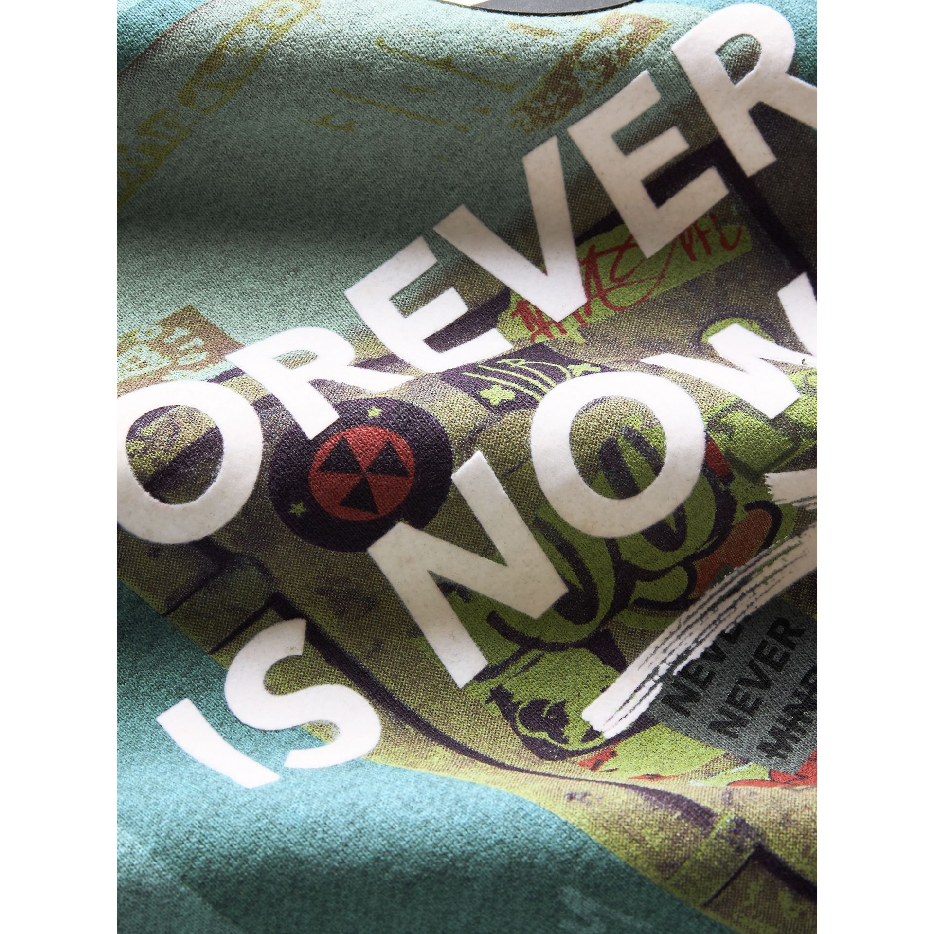 Forever is Now Print Cotton Sweatshirt in Turquoise | Burberry - gallery image 1