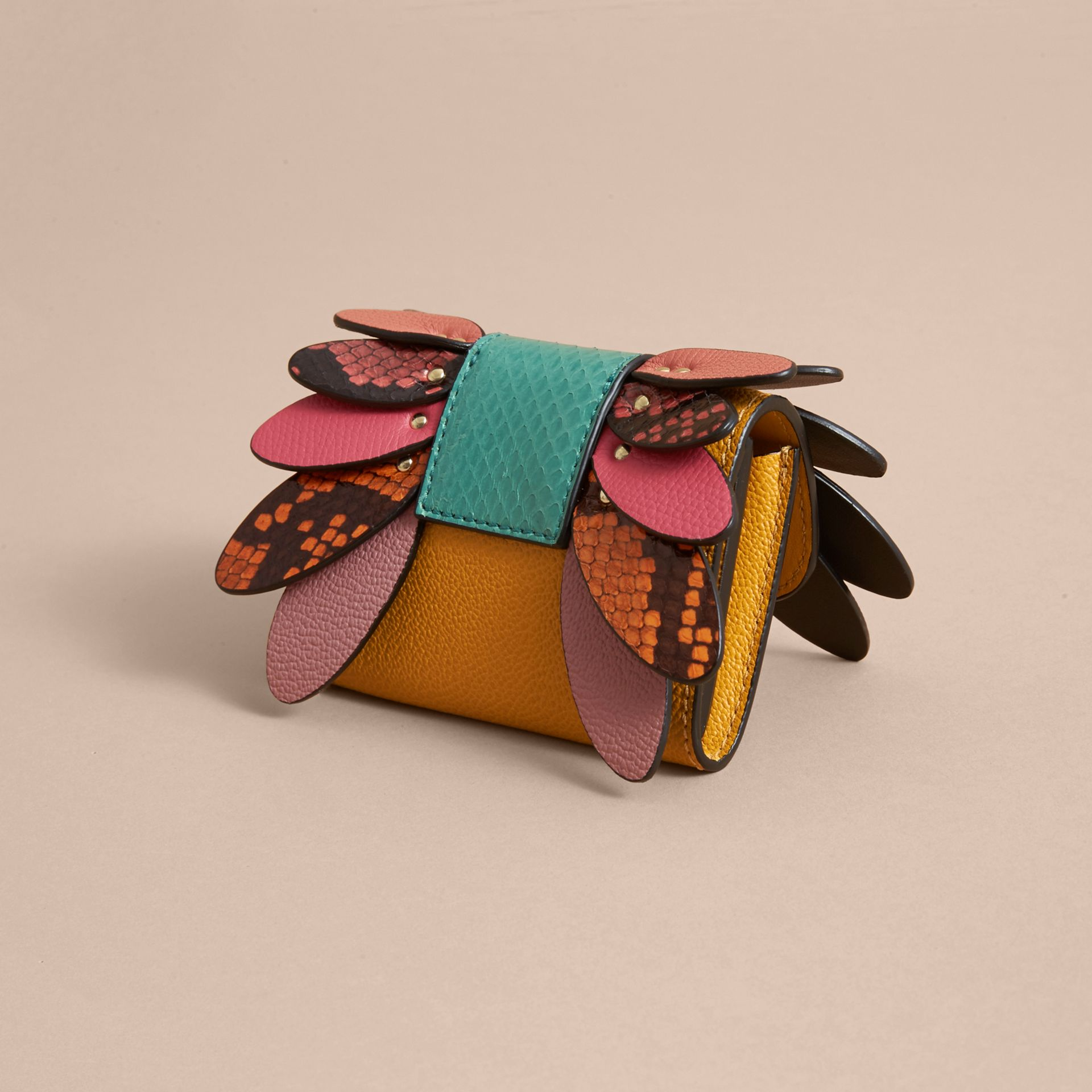 Snakeskin and Leather Appliqué Card Case in Bright Straw - Women | Burberry - gallery image 3