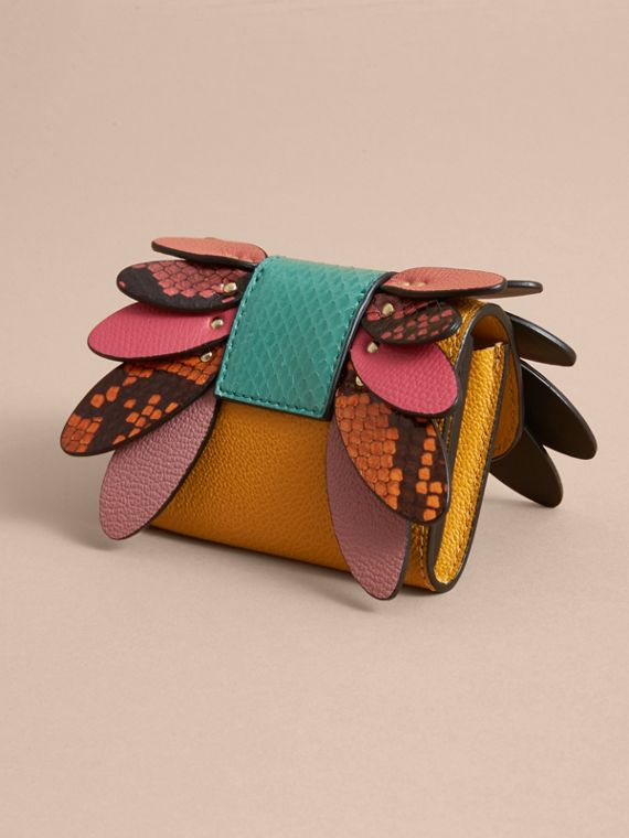 Snakeskin and Leather Appliqué Card Case in Bright Straw - Women | Burberry - cell image 2