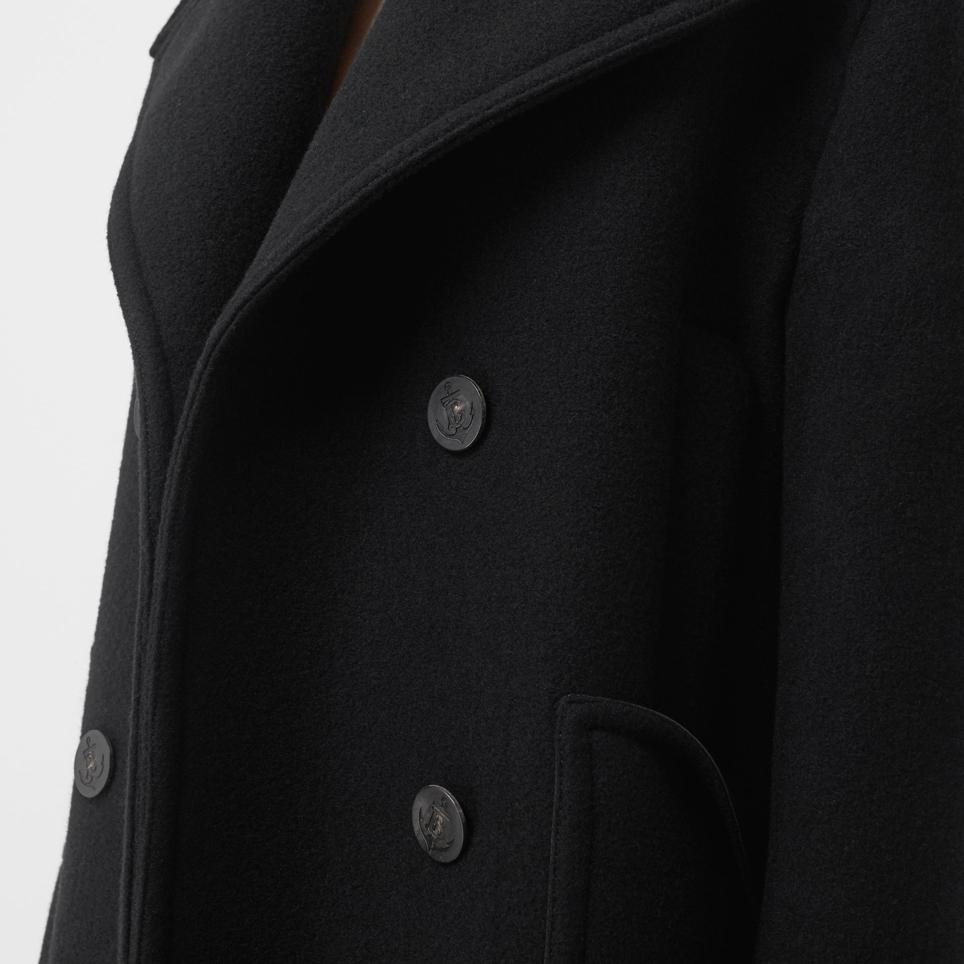 Wool Oversized Pea Coat in Black - Women | Burberry - gallery image 4