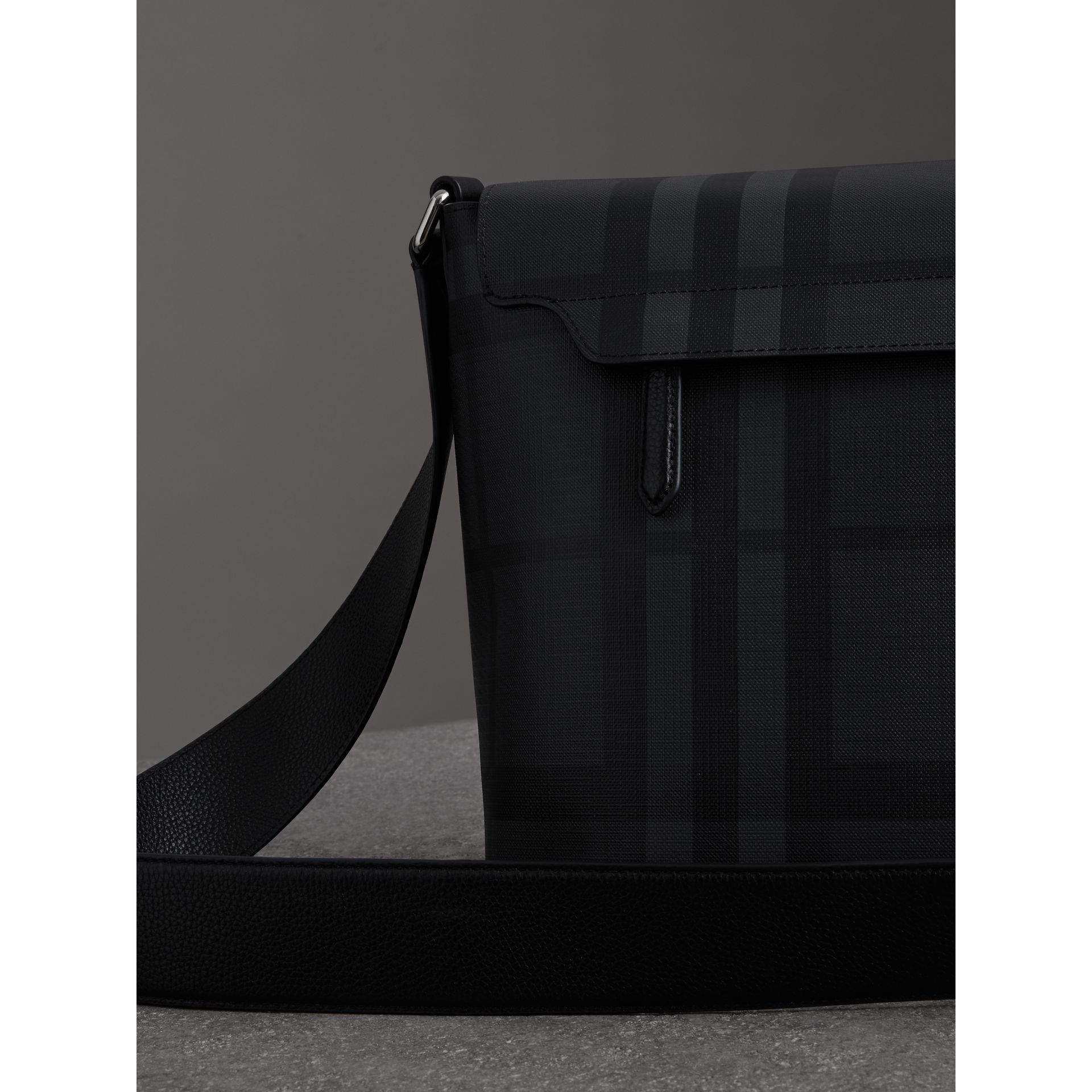 Large Logo Print Messenger Bag in Charcoal - Men | Burberry United States - gallery image 4