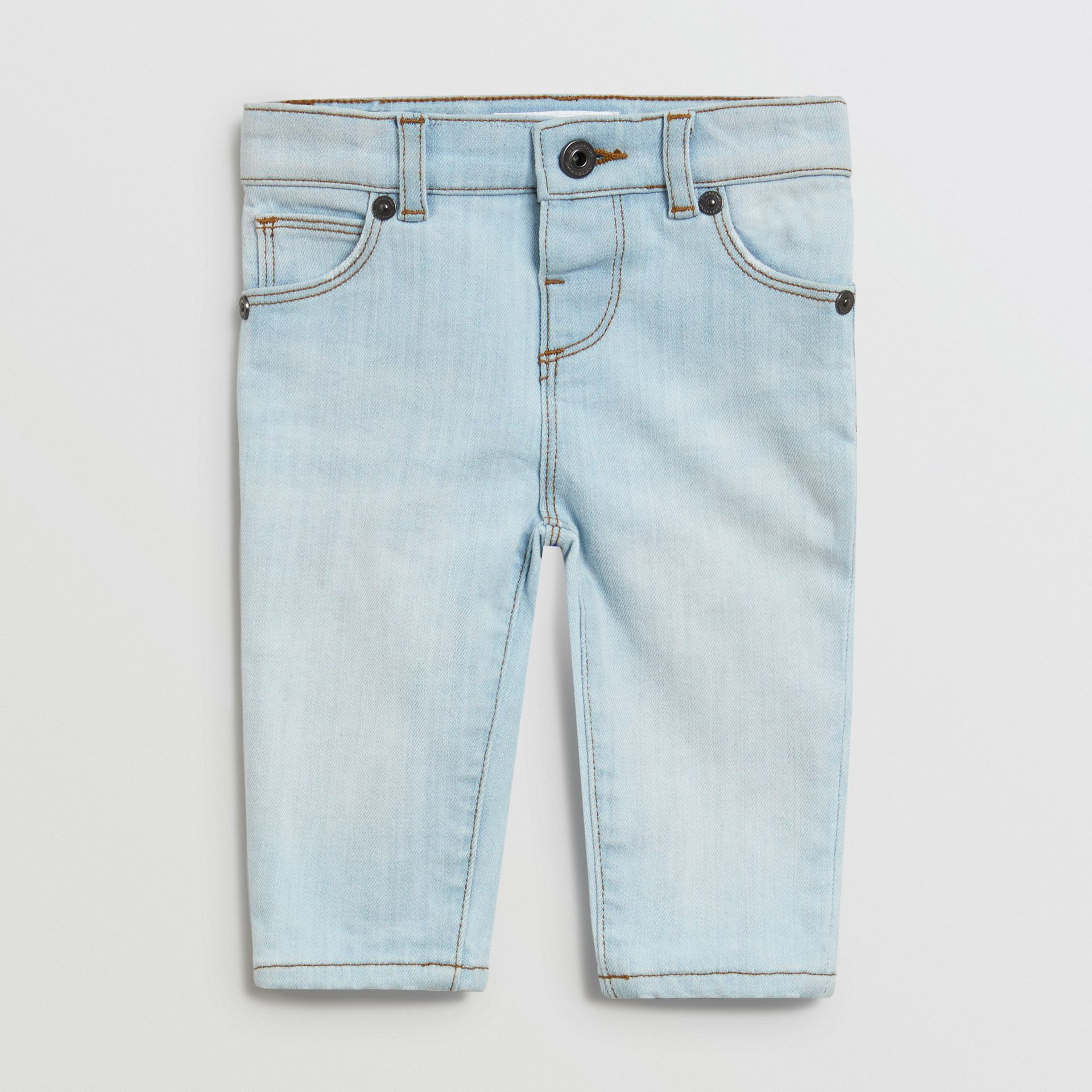 Skinny Fit Stretch Denim Jeans in Light Blue - Children | Burberry Canada - gallery image 0