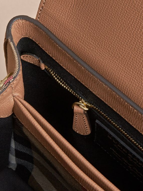 Small Grainy Leather and House Check Tote Bag in Dark Sand - Women | Burberry - cell image 3