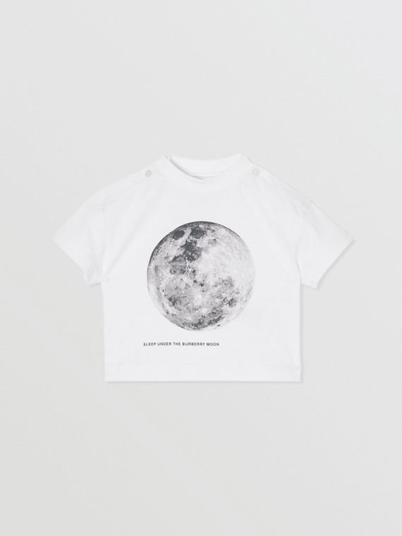Moon Print Cotton T-shirt in White