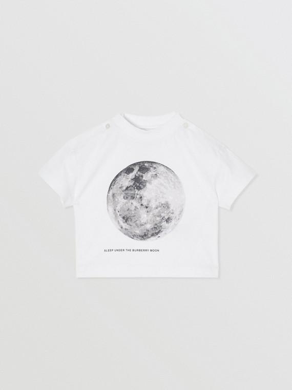 달 프린트 코튼 티셔츠 (화이트)