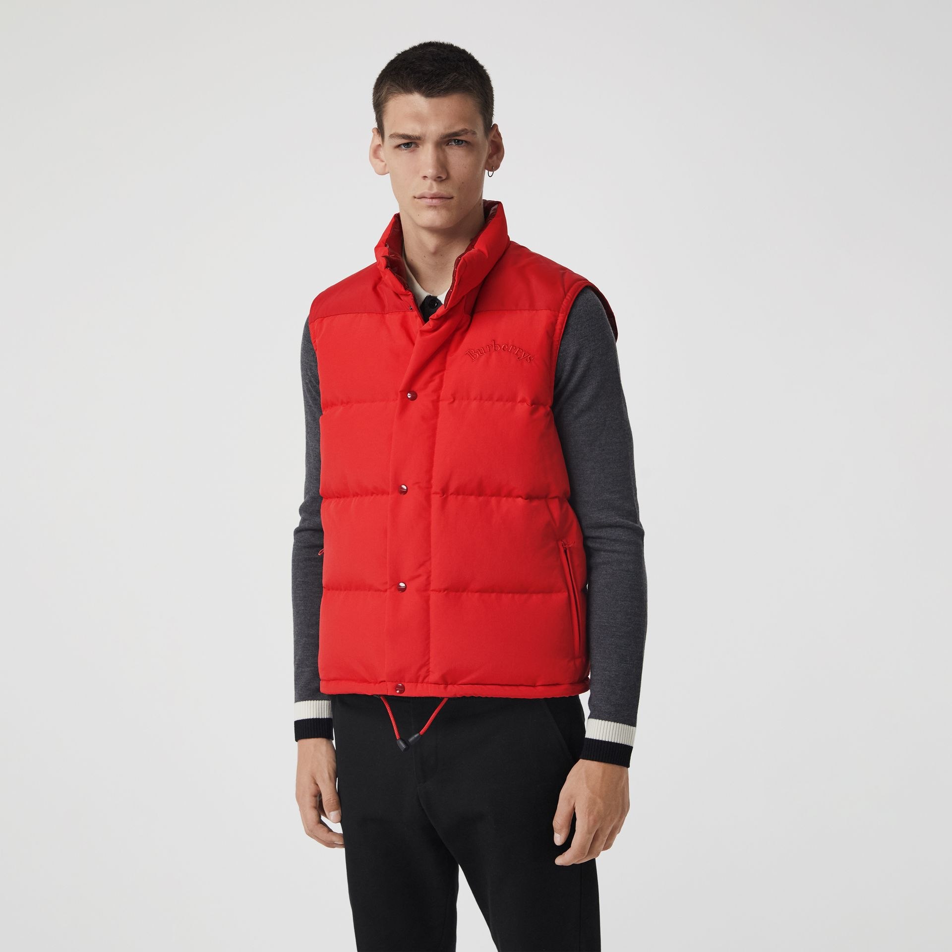 Embroidered Archive Logo Down-filled Gilet in Bright Red - Men | Burberry United Kingdom - gallery image 4