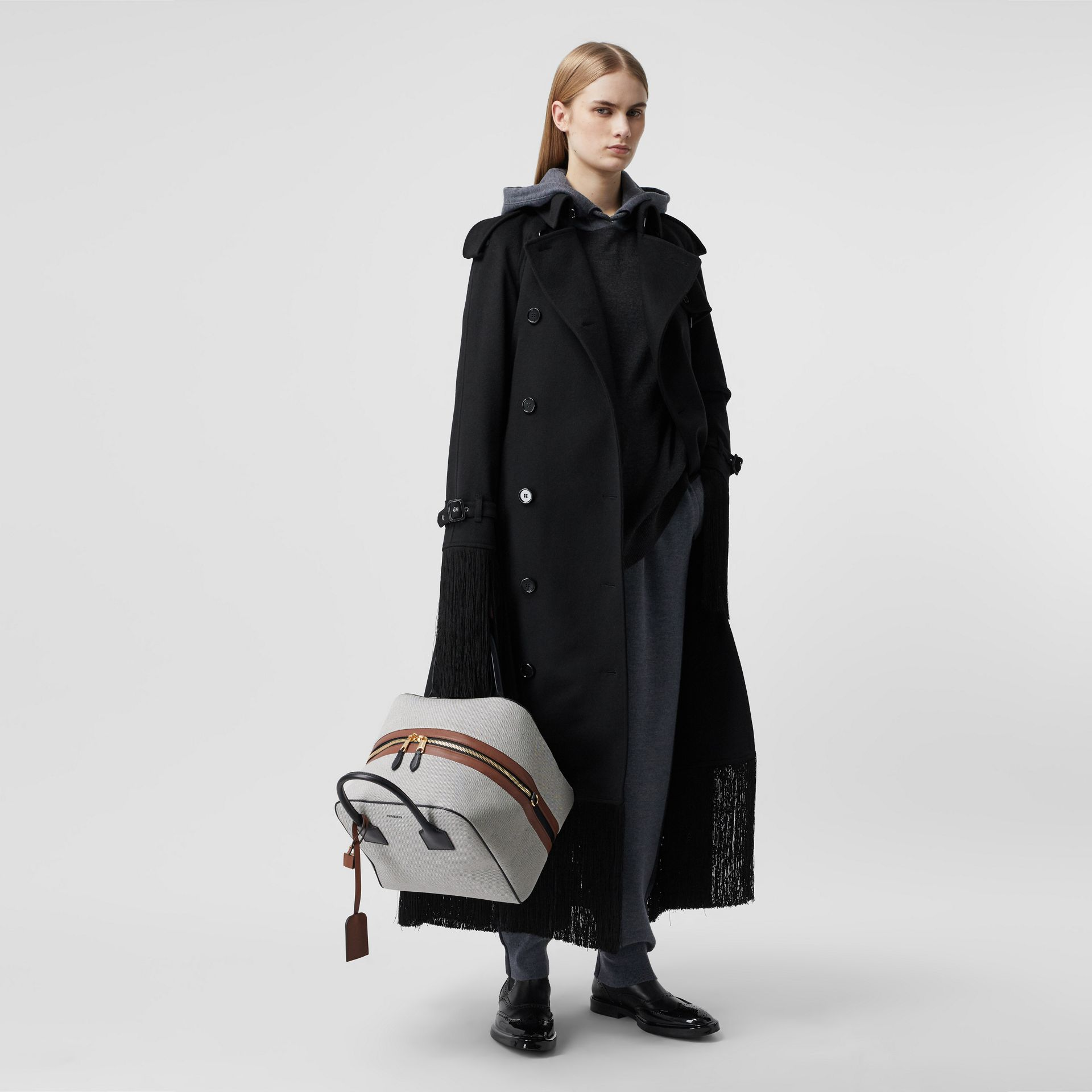 Fringed Wool Cashmere Trench Coat in Black - Women | Burberry Australia - gallery image 0