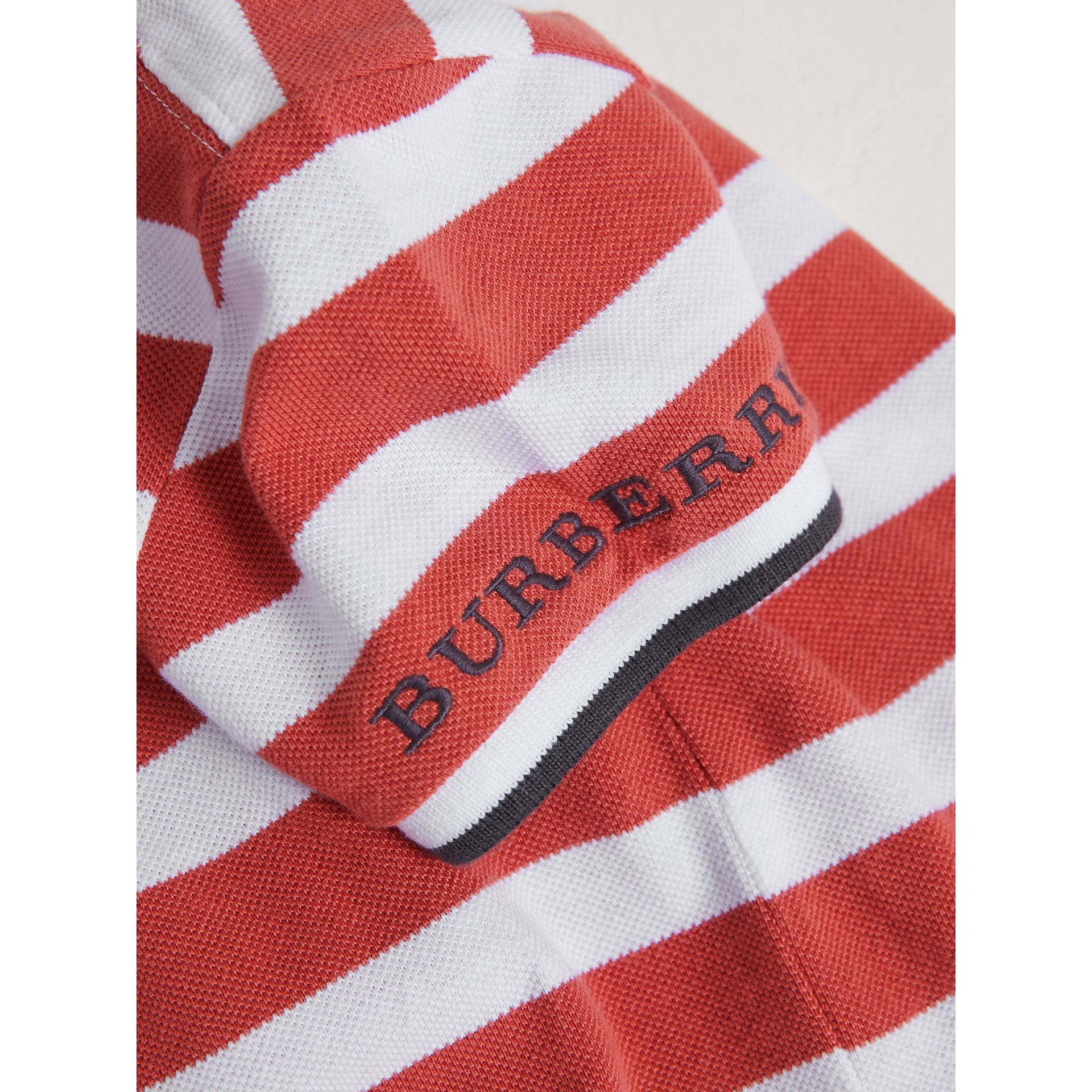 Striped Cotton Polo Shirt in Pale Cinnamon - Boy | Burberry Australia - gallery image 2