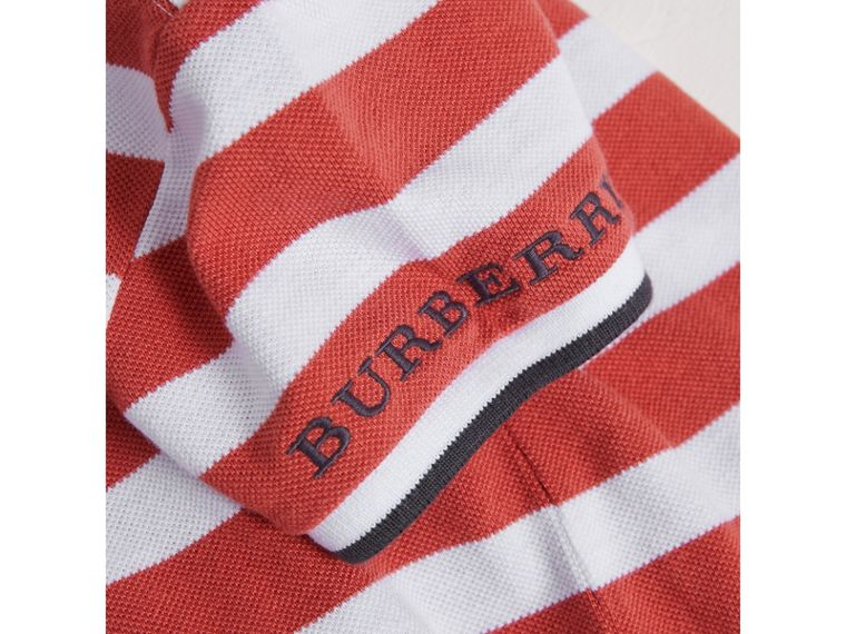 Striped Cotton Polo Shirt in Pale Cinnamon - Boy | Burberry - cell image 1