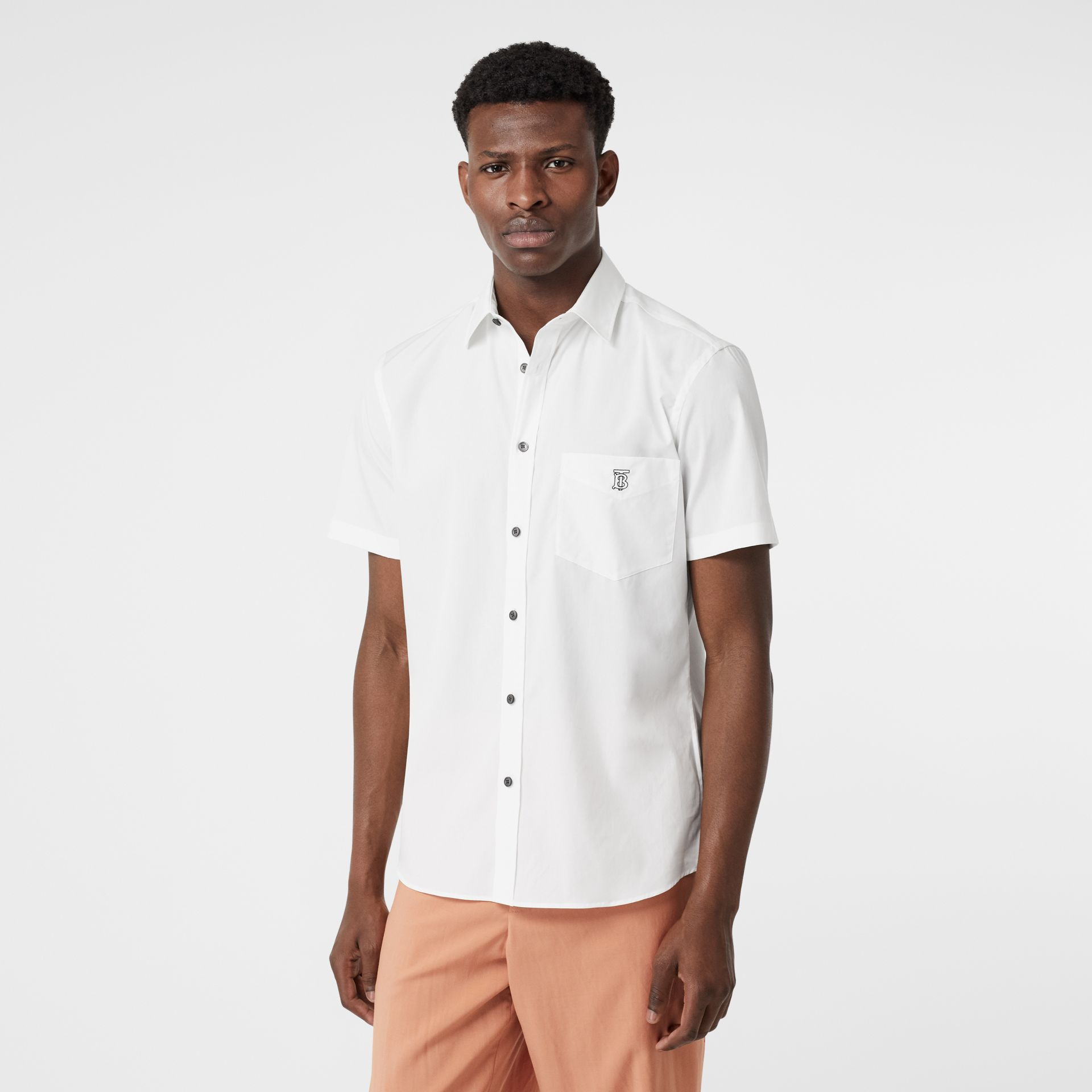 Short-sleeve Monogram Motif Stretch Cotton Shirt in White - Men | Burberry - gallery image 4