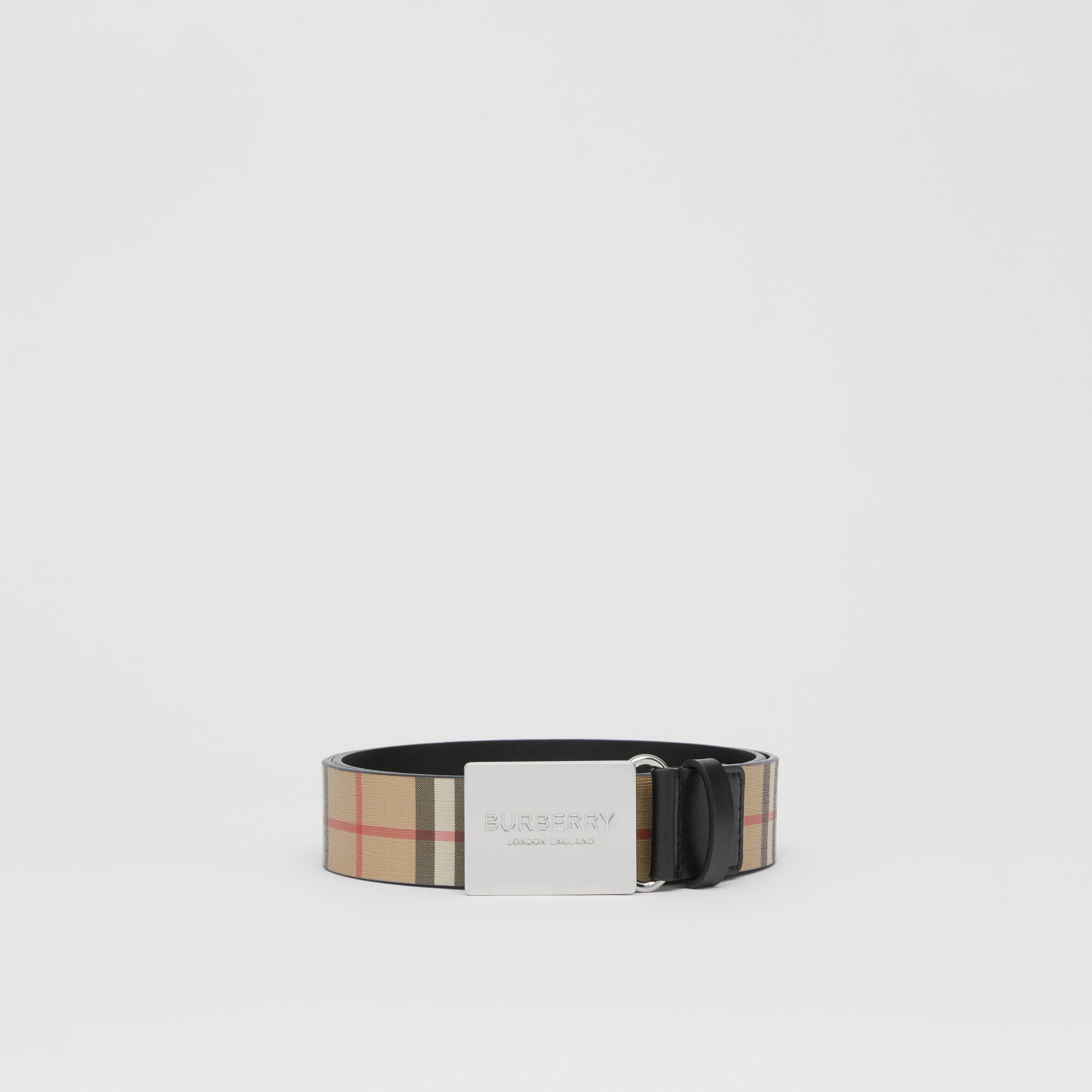 Plaque Buckle Vintage Check E-canvas Belt in Archive Beige - Men | Burberry - gallery image 3