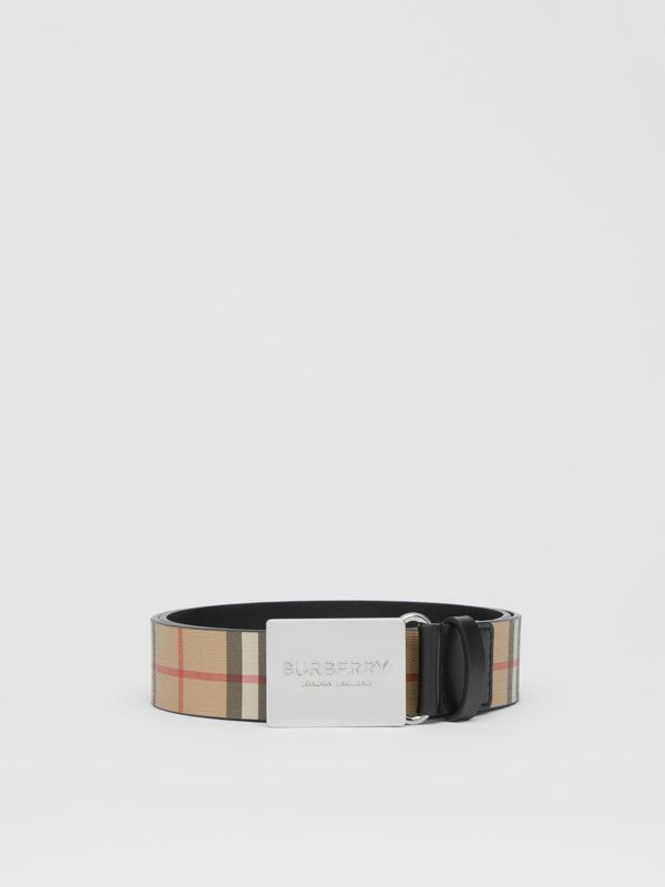 Plaque Buckle Vintage Check E-canvas Belt in Archive Beige - Men | Burberry - cell image 3