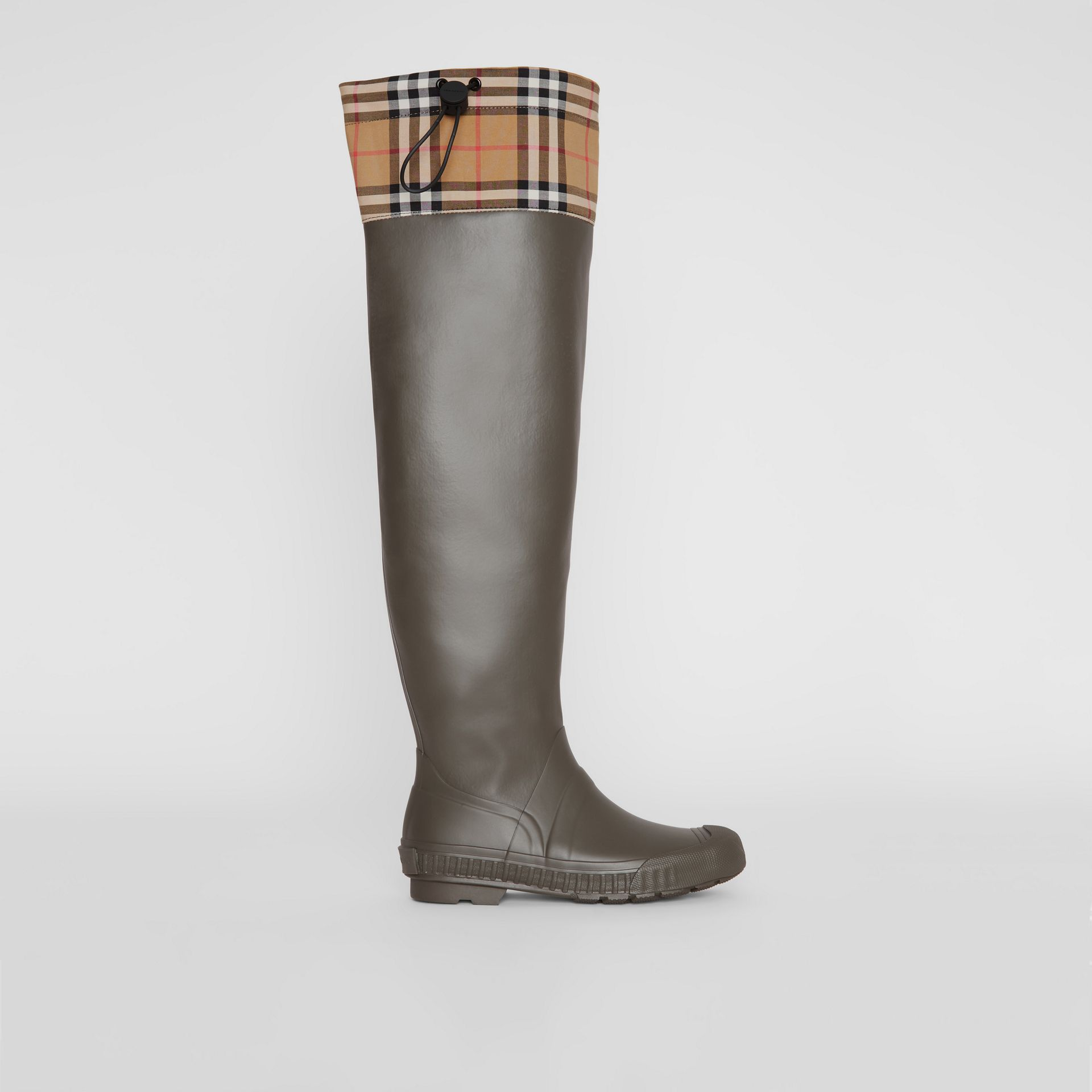 Vintage Check and Rubber Knee-high Rain Boots in Military Green - Women | Burberry Canada - gallery image 5
