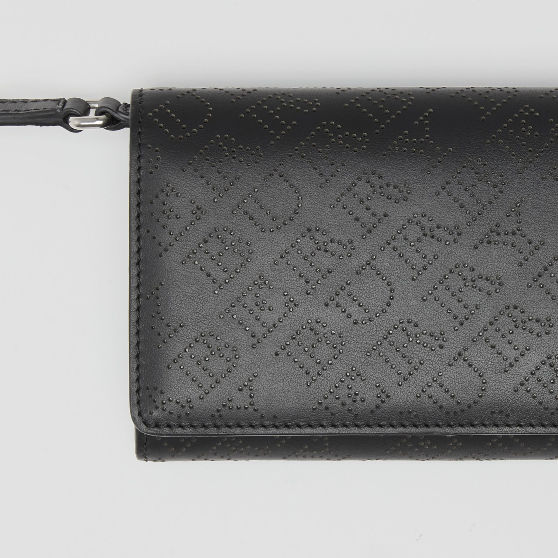 Perforated Logo Leather Wallet with Detachable Strap in Black - Women | Burberry - gallery image 1