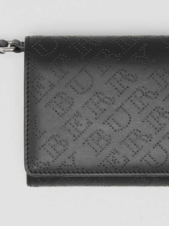 Perforated Logo Leather Wallet with Detachable Strap in Black - Women | Burberry Singapore - cell image 1