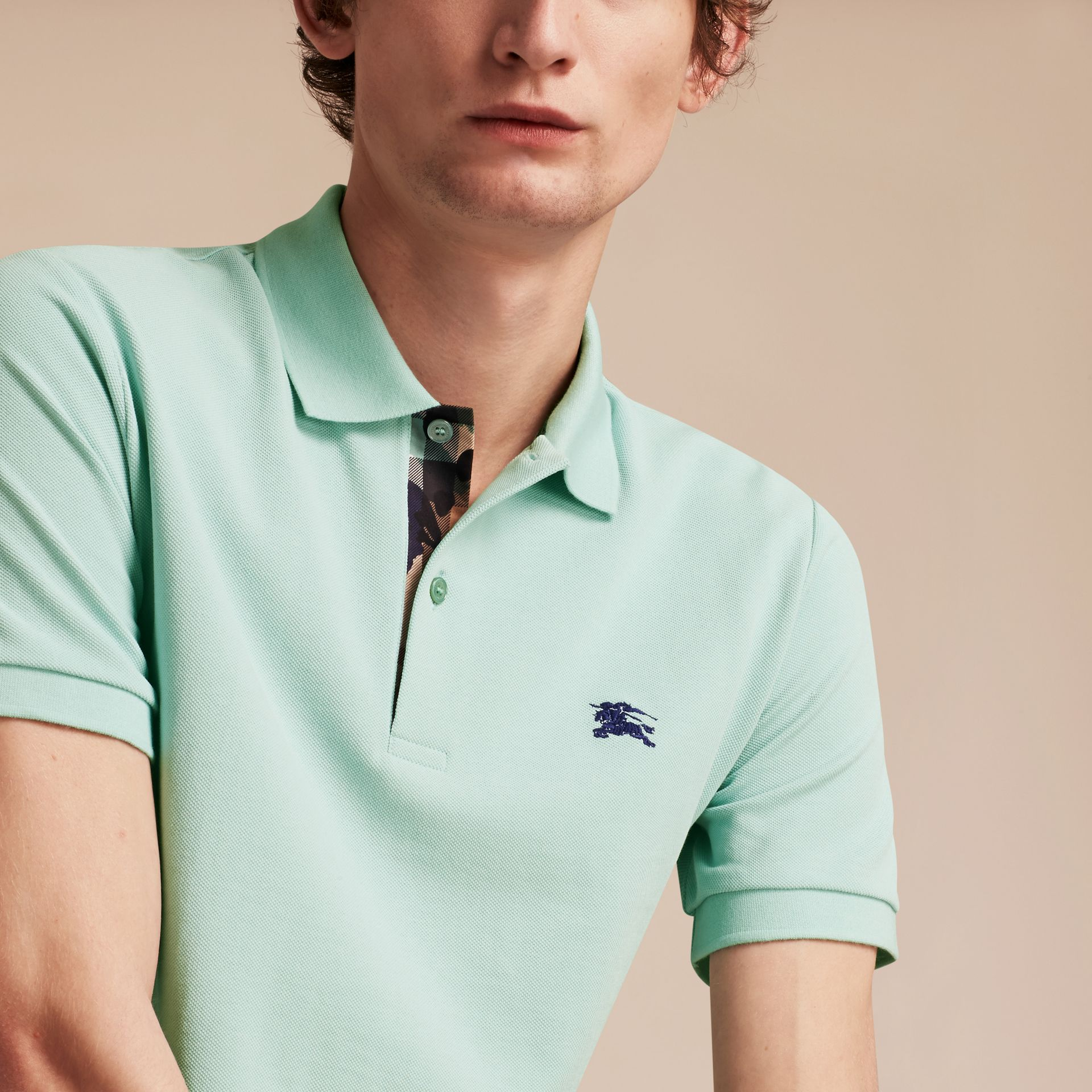 Printed Check Placket Cotton Piqué Polo Shirt Light Green Opal - gallery image 5
