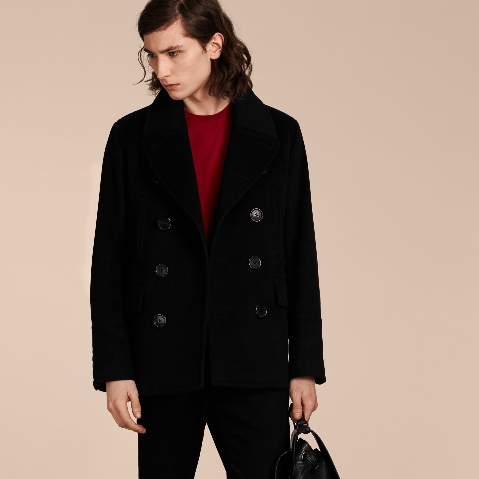 Black Wool Cashmere Pea Coat Black - gallery image 1