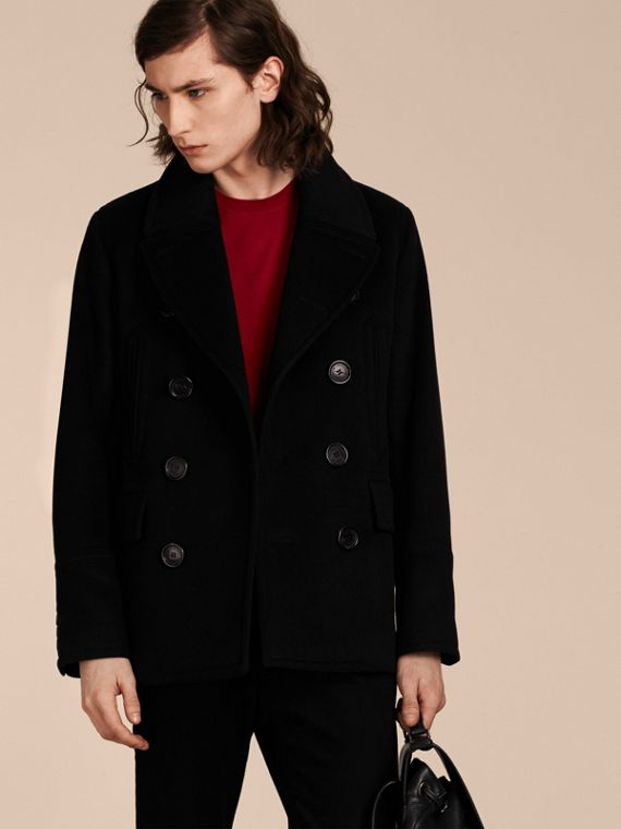 Wool Cashmere Pea Coat Black