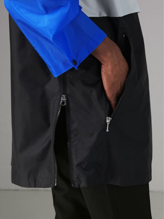 Colour Block Lightweight Half-zip Parka in Sapphire Blue - Men | Burberry United States - cell image 1