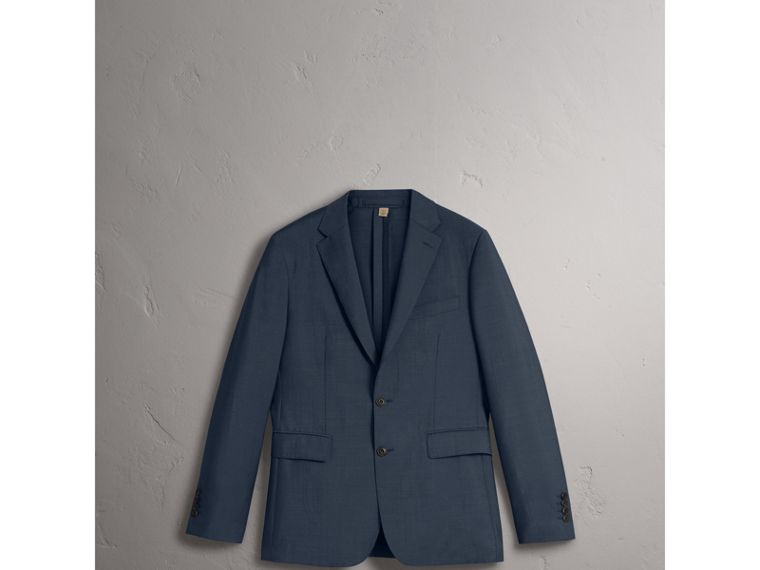Soho Fit Wool Mohair Suit in Petrol Blue - Men | Burberry - cell image 1
