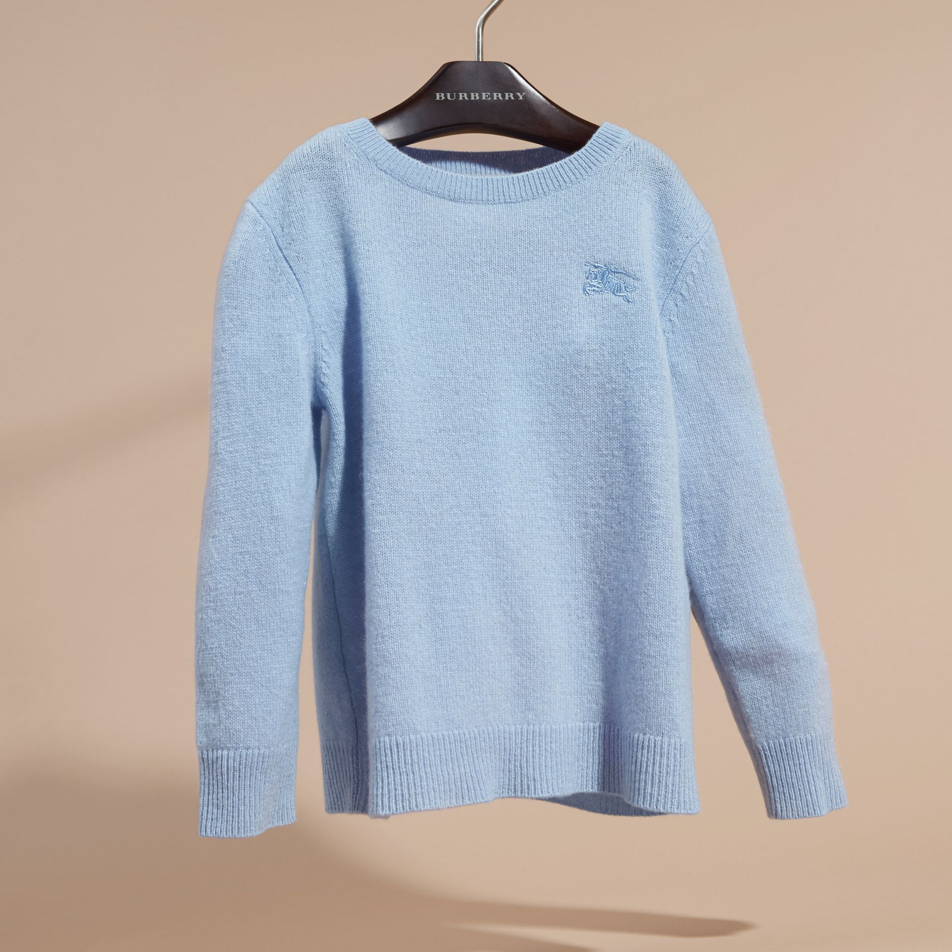 Check Elbow Patch Cashmere Sweater in Pale Cornflower Blue - gallery image 3