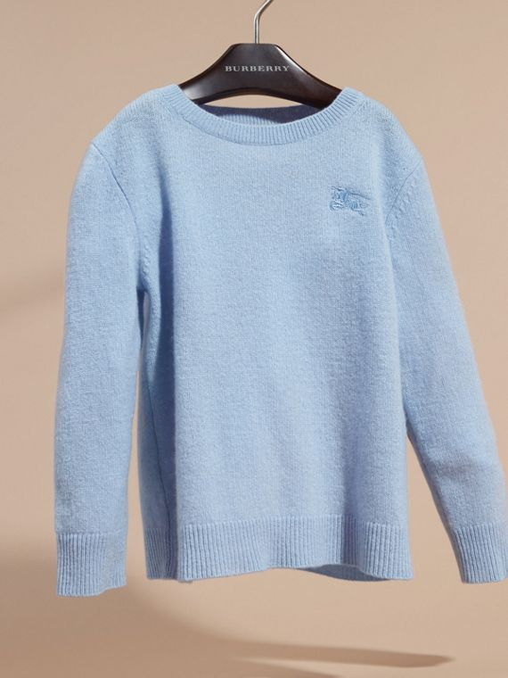 Check Elbow Patch Cashmere Sweater in Pale Cornflower Blue - cell image 2