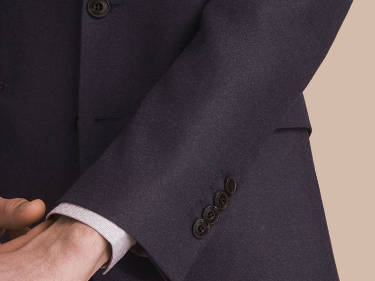 Soho Fit Wool Flannel Suit in Navy Melange - Men | Burberry - cell image 4