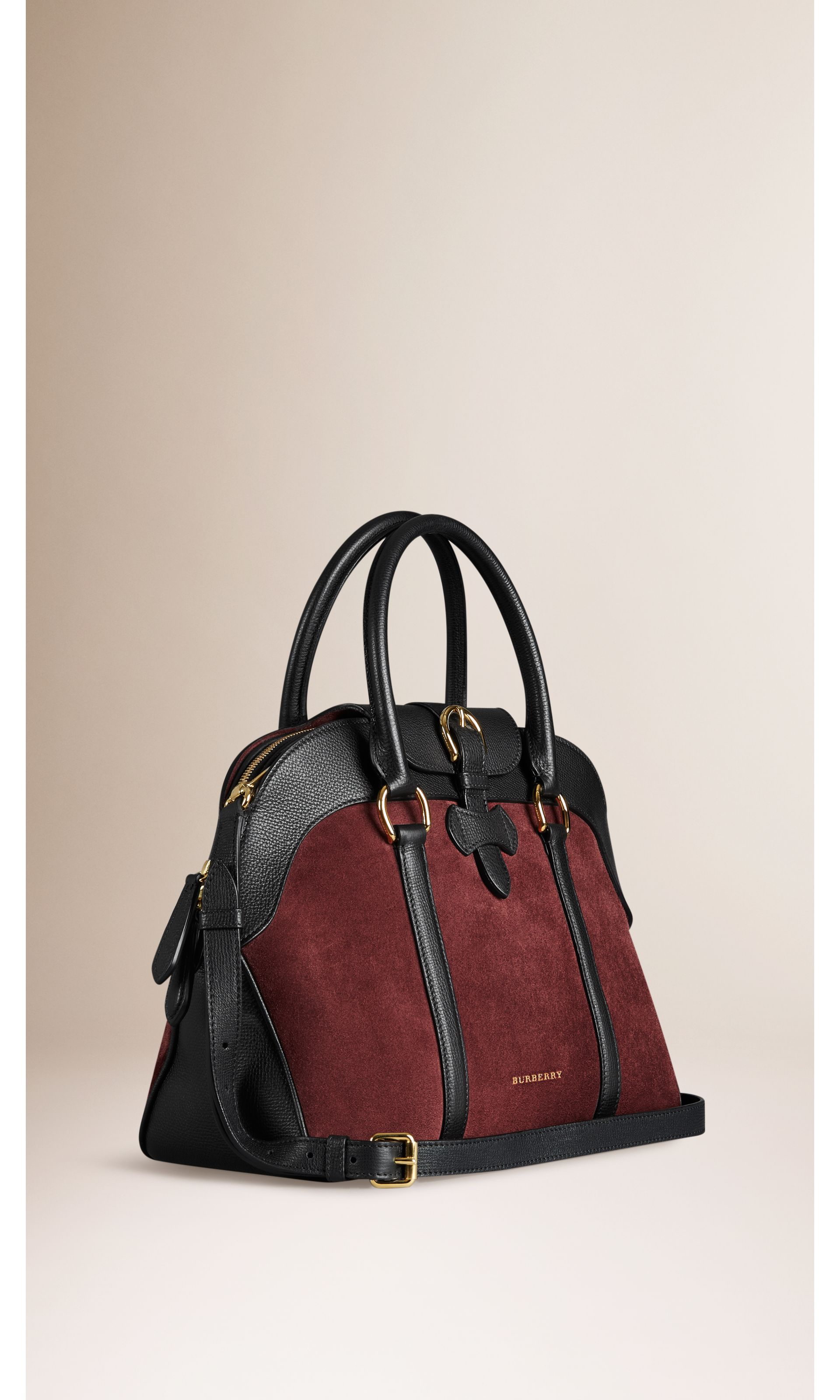 90df8ab70f09 Medium Suede and Leather Bowling Bag in Mahogany Red black - Women ...