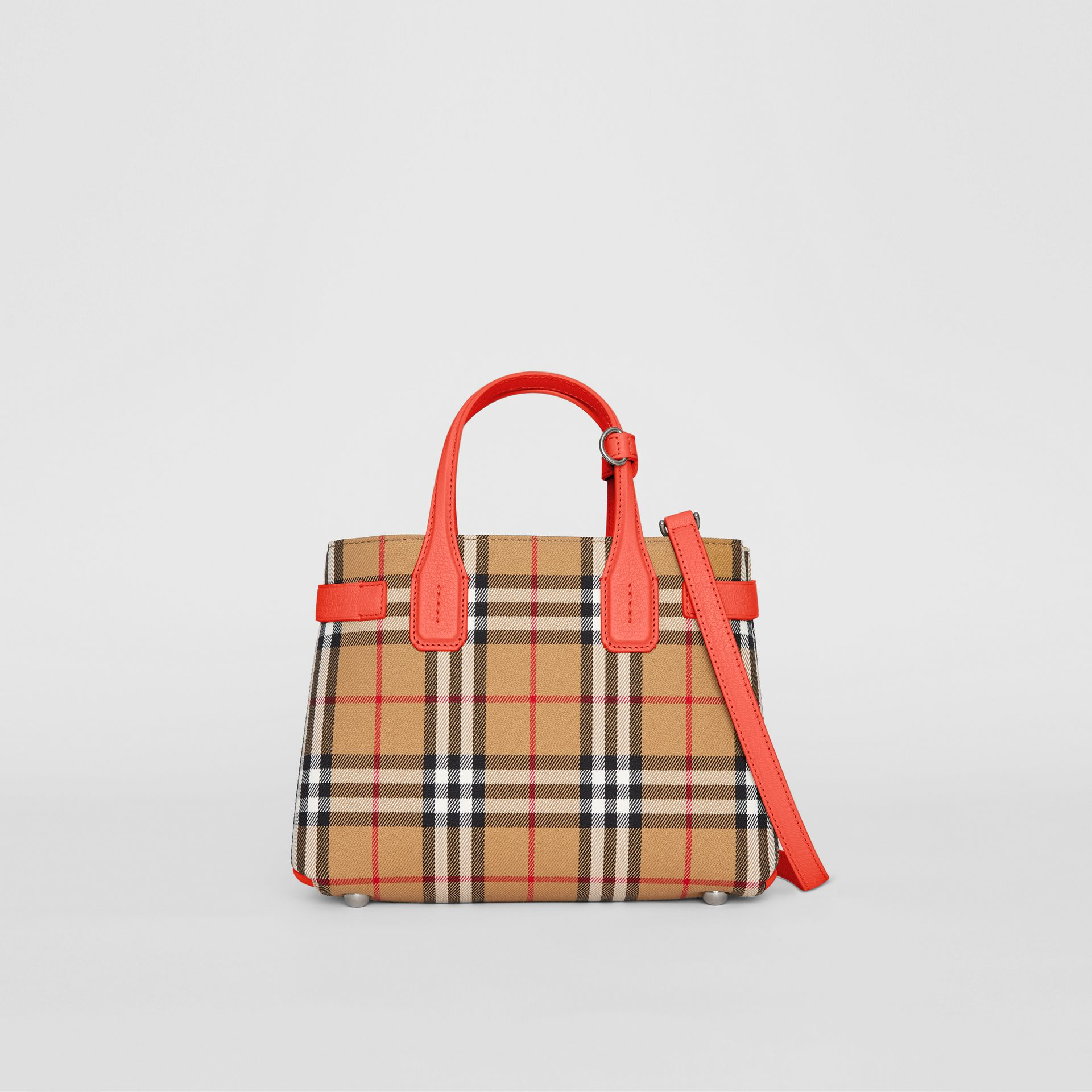The Small Banner in Vintage Check and Leather in Bright Red - Women | Burberry Australia - gallery image 0
