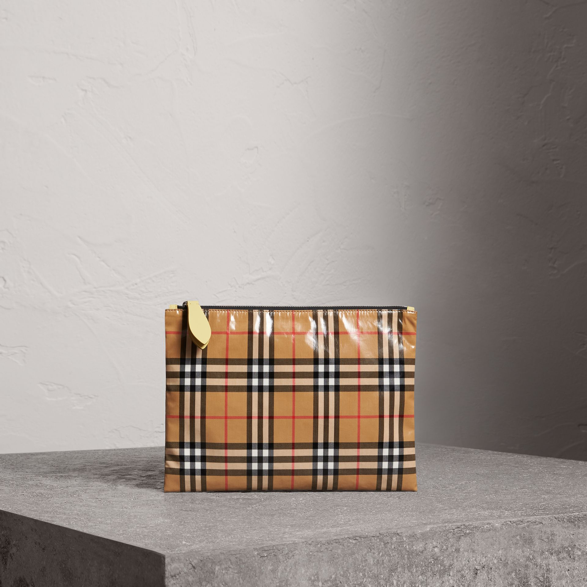Medium Coated Vintage Check Pouch in Pale Yellow | Burberry - gallery image 0