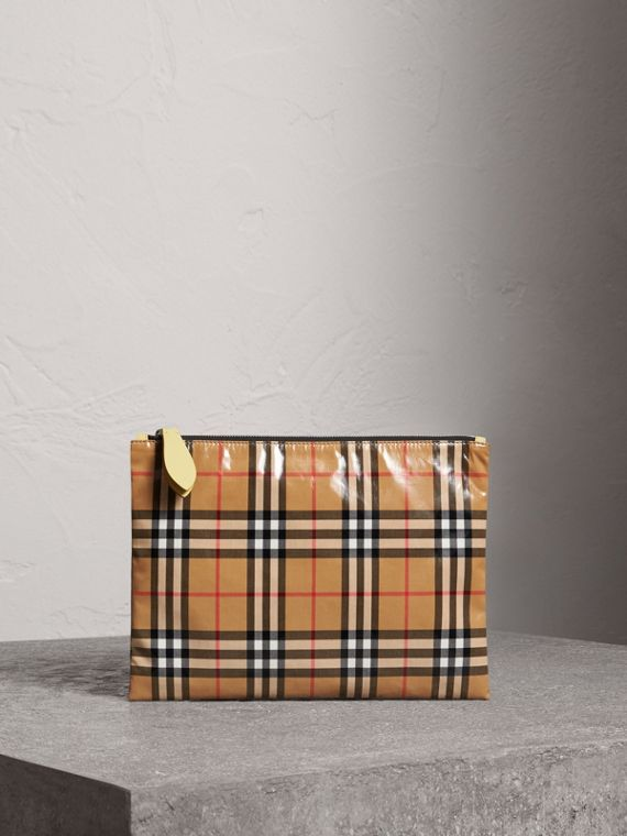 Medium Coated Vintage Check Pouch in Pale Yellow