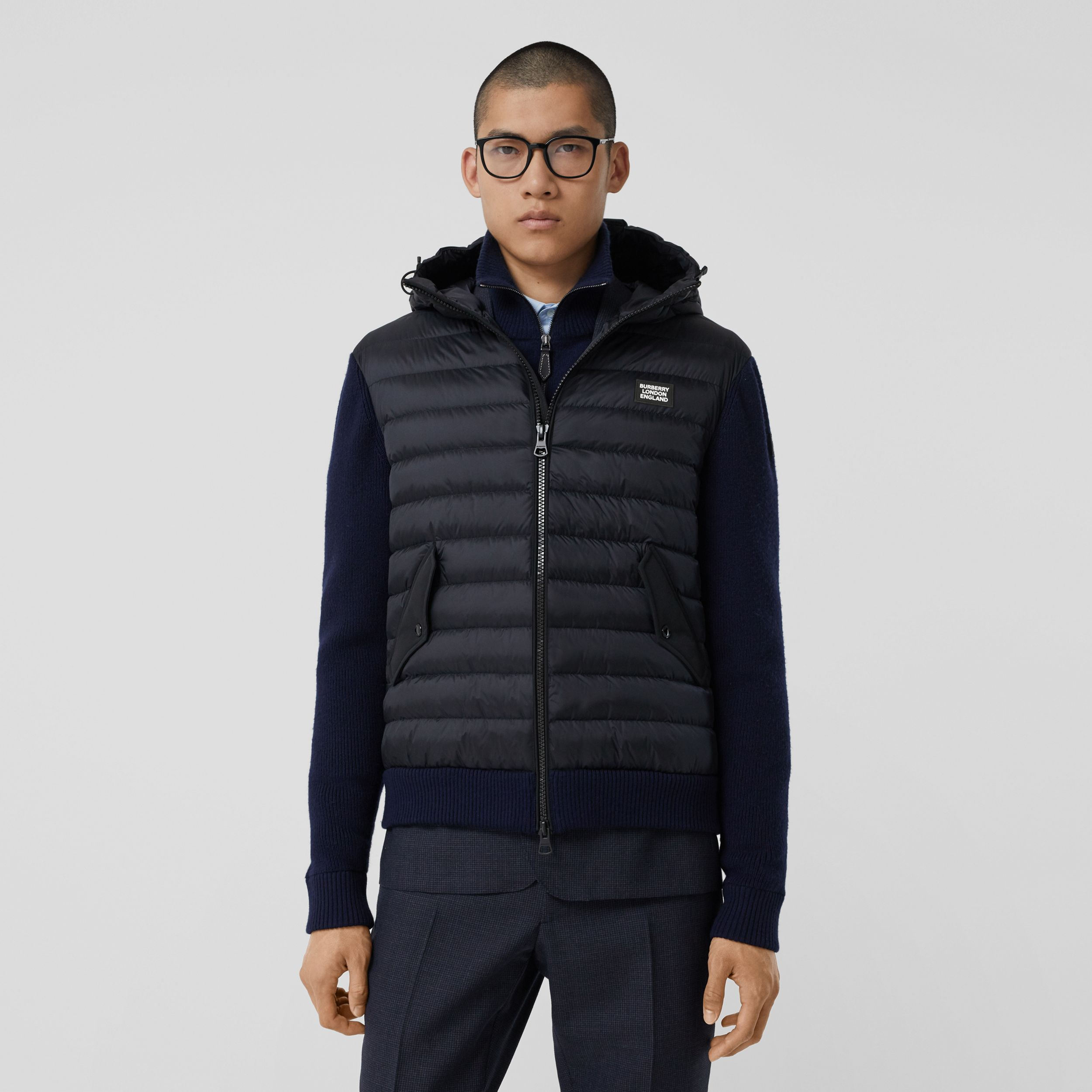 Puffer Detail Technical Knit Hooded Jacket in Navy - Men | Burberry - 1