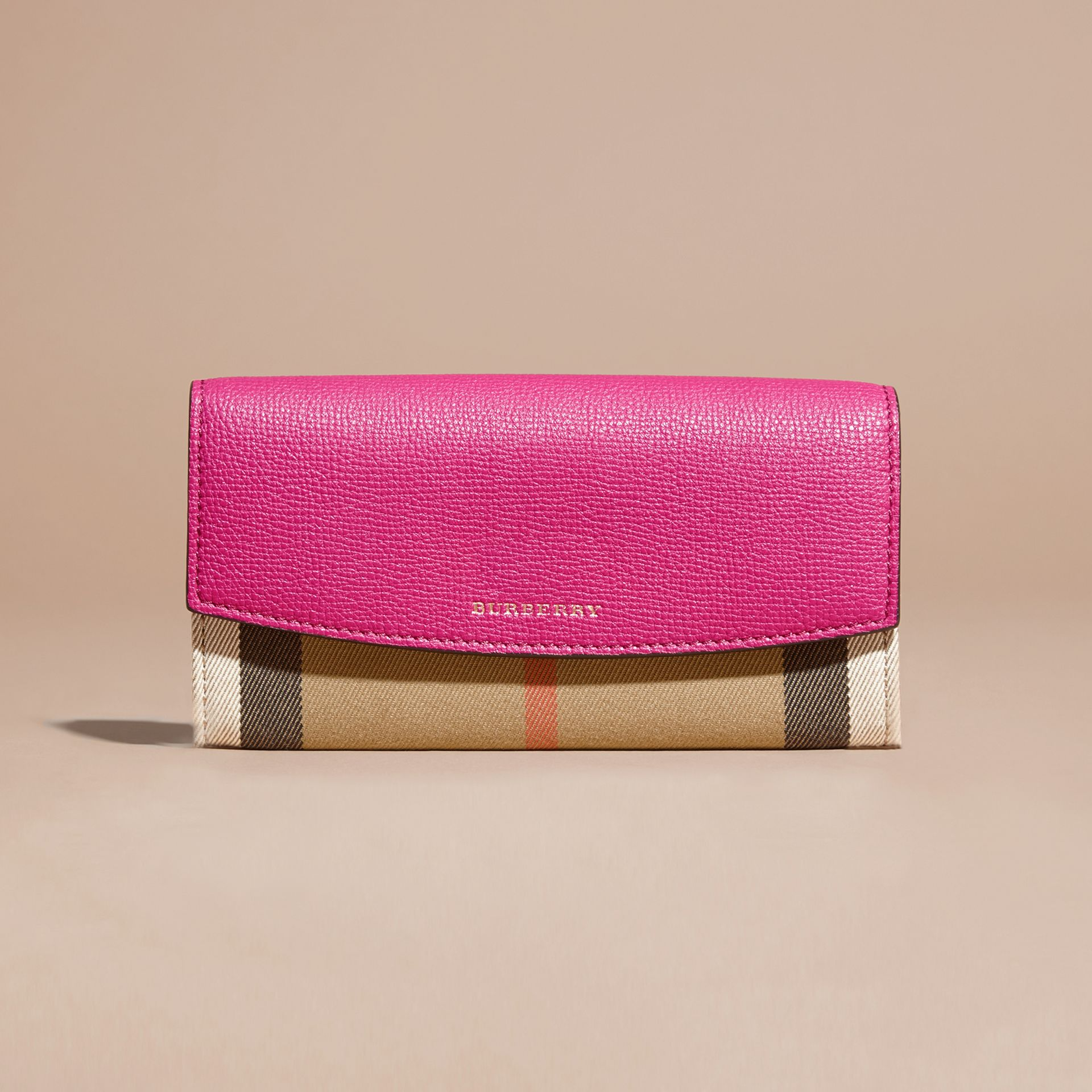House Check and Leather Continental Wallet Brilliant Fuchsia - gallery image 6
