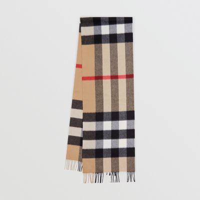 Check Cashmere Scarf In Archive Beige Burberry United States