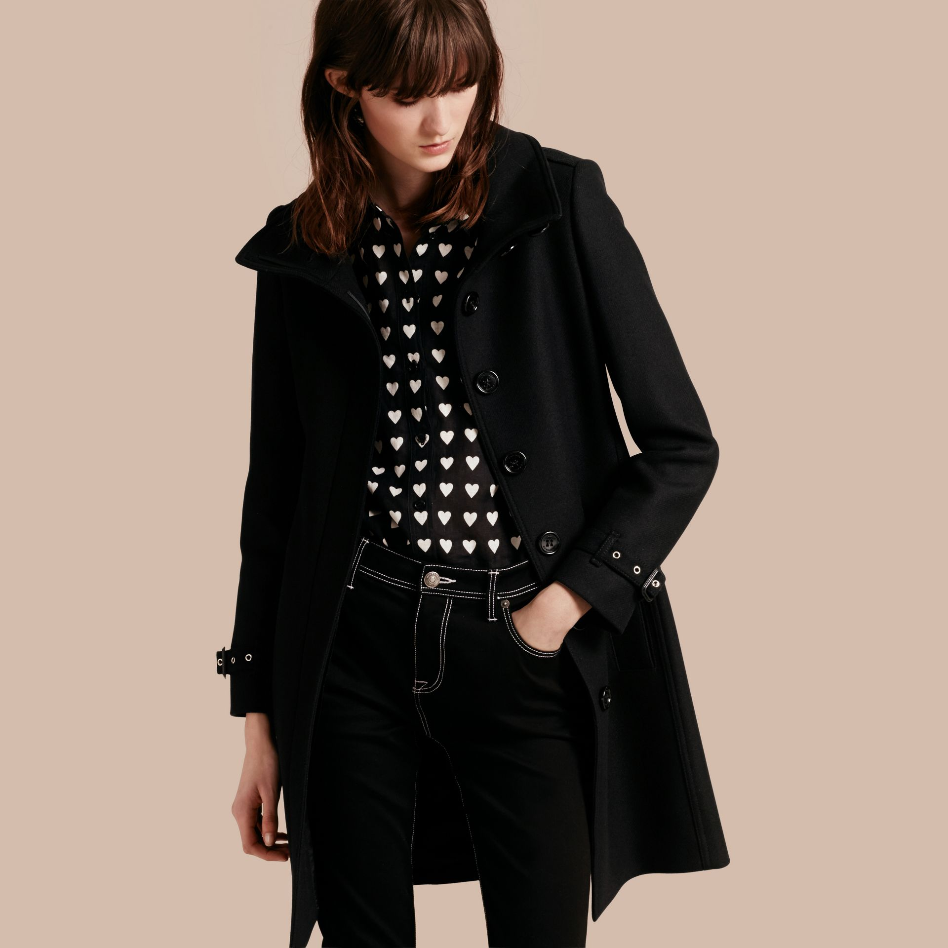 Technical Wool Cashmere Funnel Neck Coat in Black - Women | Burberry Singapore - gallery image 1