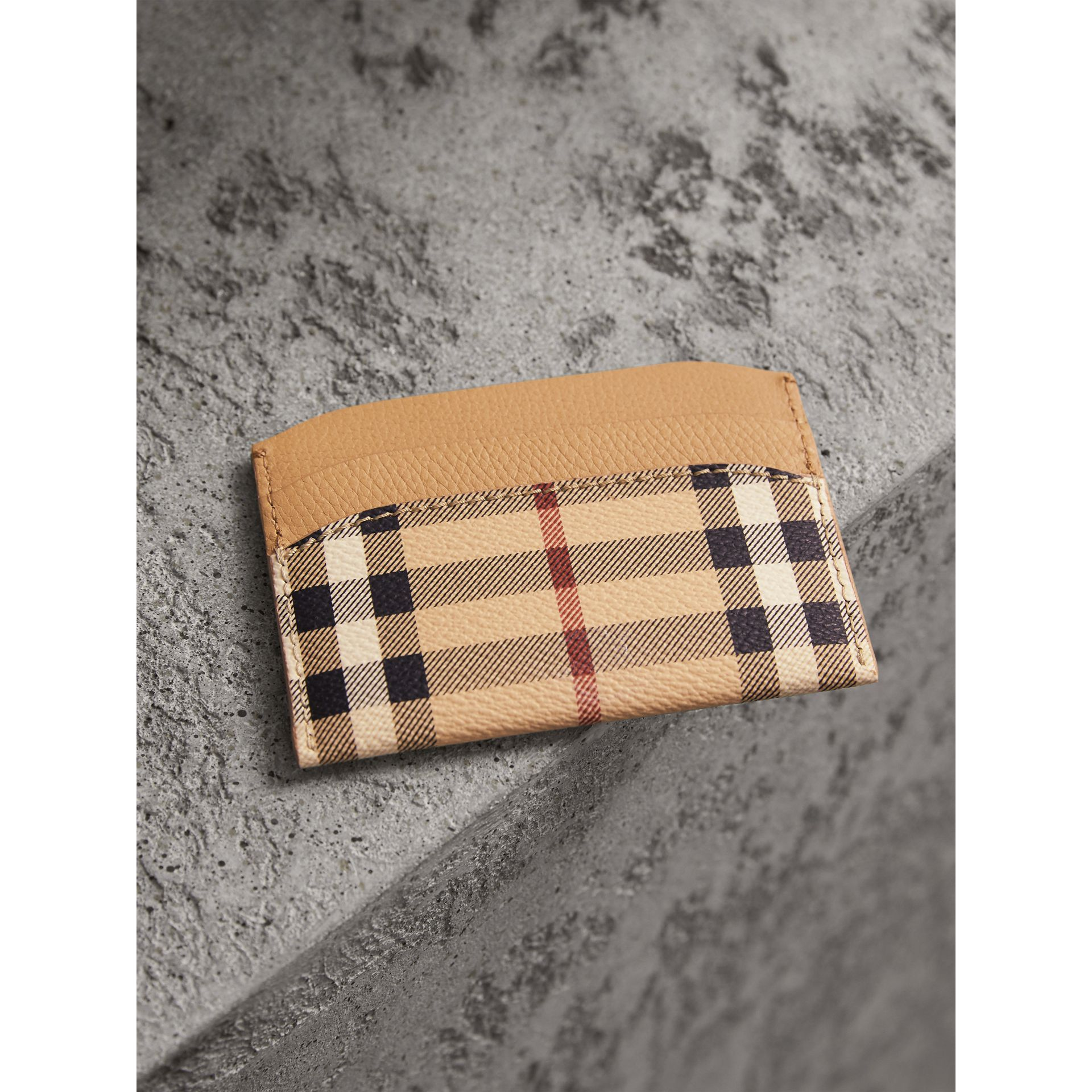 Haymarket Check and Leather Card Case in Mid Camel - Women | Burberry - gallery image 3