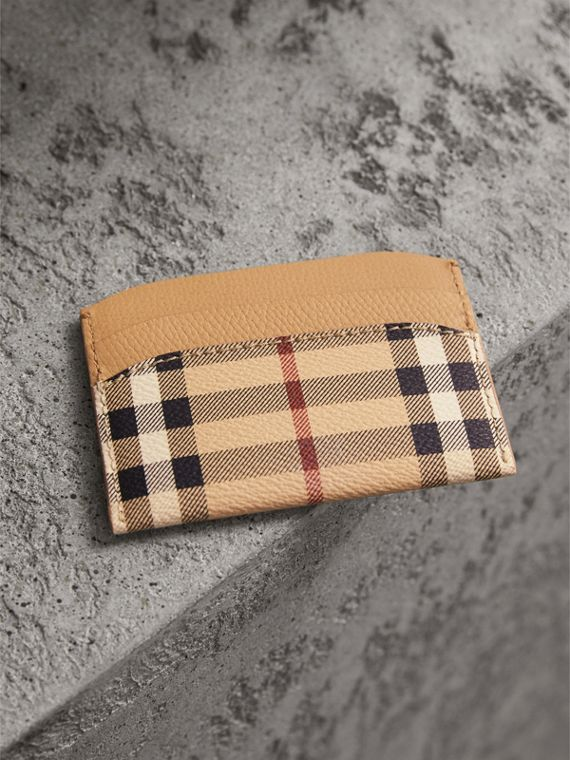 Haymarket Check and Leather Card Case in Mid Camel - Women | Burberry Singapore - cell image 2