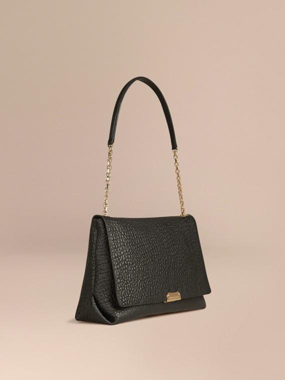 Grand sac porté épaule en cuir grainé emblématique Noir